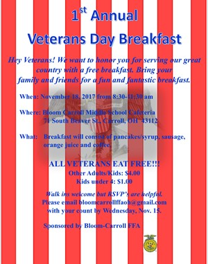 1st Annual Veterans Day Breakfast
