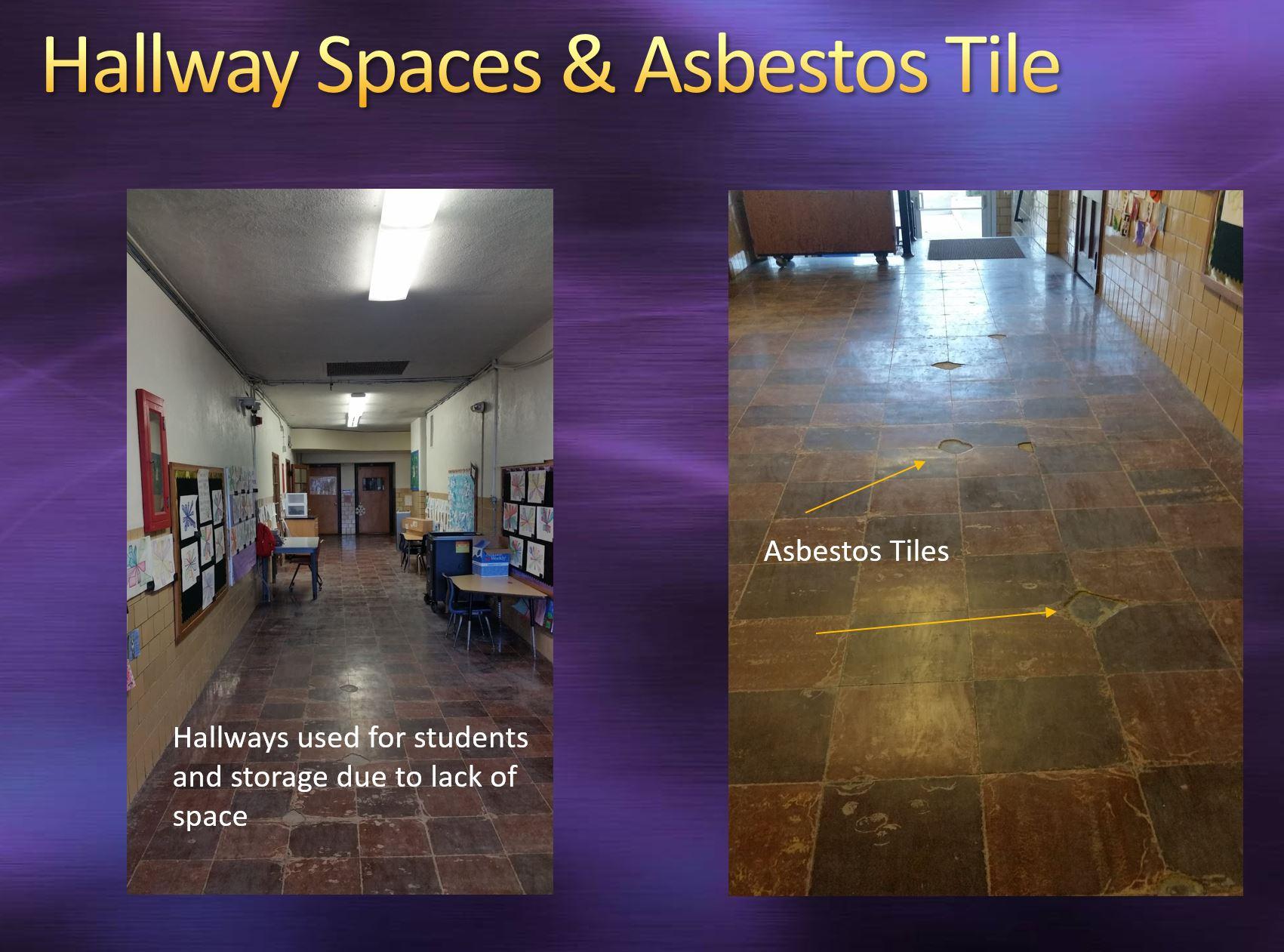 Hallway spaces and asbestos tile